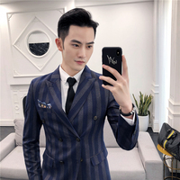2018 Spring And Summer New Suit Men's Three piece Professional Business Casual Handsome Striped Slim Trend Fashion Simple