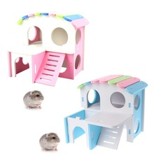 Wood Guinea Pig Hamster Ladder Nest Double-Deck Villa House Cage Toys