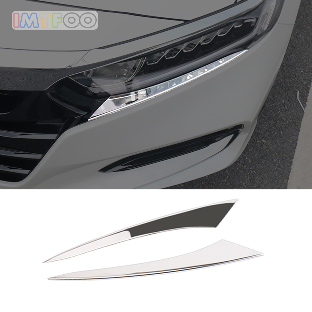 IMTFOO STAINLESS STEEL HEAD LIGHTS HEADLIGHT TRIM MOLDING GARNISH BODY DECAL FOR HONDA ACCORD 2018 2019 ACCESSORIES CAR STYLING