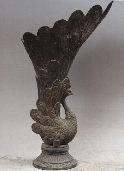 """Ev ve Bahçe'ten Statü ve Heykelleri'de JP S0524 14 """"Eski Çin Hanedanlığı sarayı peacock peafowl Bronz Kuş Heykeli Vazo Fincan title="""