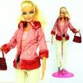 ( Комбинат ) ручной работы костюмы Snowsuit зима платье клен красный плюш пальто брюки мешок комплект наряд одежда для Barbie Kurhn кукла