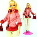 (Combine shipping) Handmade Suits Snowsuit Winter Dress Maple Red Plush Coat Pants Bag Set Outfit Clothing For Barbie Kurhn Doll