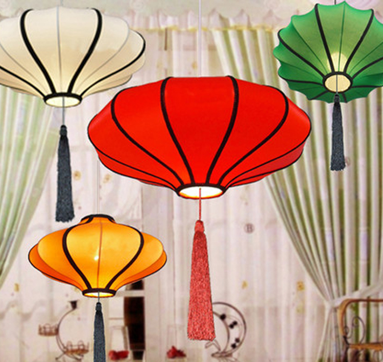 fabric lantern lights pendant