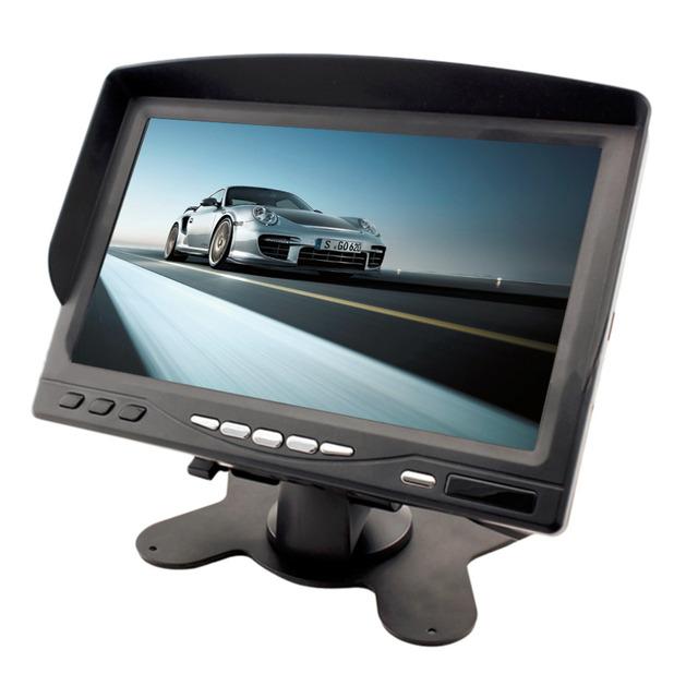 """2016 Nuevo Y de Alta Calidad Portátil 7 """"LCD Monitor de Pantalla Digital en Color de Opinión Posterior Del Coche con Parasol Venta Caliente"""