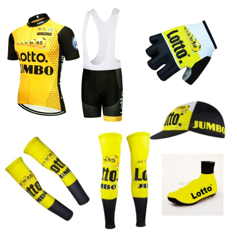 2018 Pro team lotto jumbo 7PCS full set cycling jersey Short sleeve quickdry bike clothing MTB Ropa Ciclismo Bicycle maillot GEL