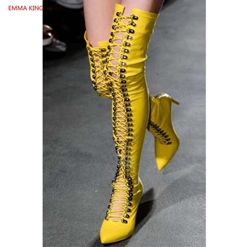 Zapatos Shown as Sobre Primavera Cuero Otoño Picture Sexy Para In Picture Rodilla Altos Altas Tacones As Finos Botas La De Corte 2018 Mujer Lujo Cruzadas gYxq55w8R