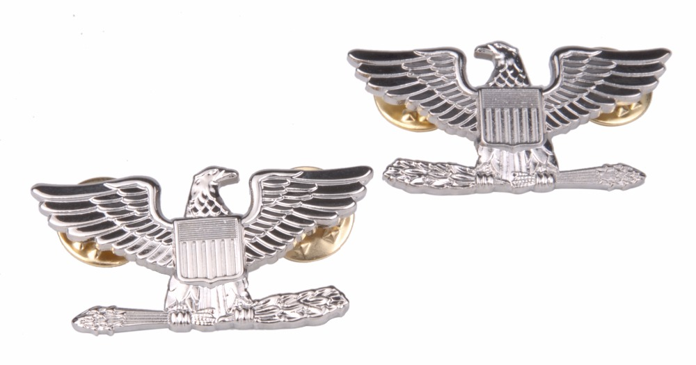 PAIR WW2 WWII US ARMY COLONEL EAGLE WAR BIRD DEVICE PIN BADGE INSIGNIA