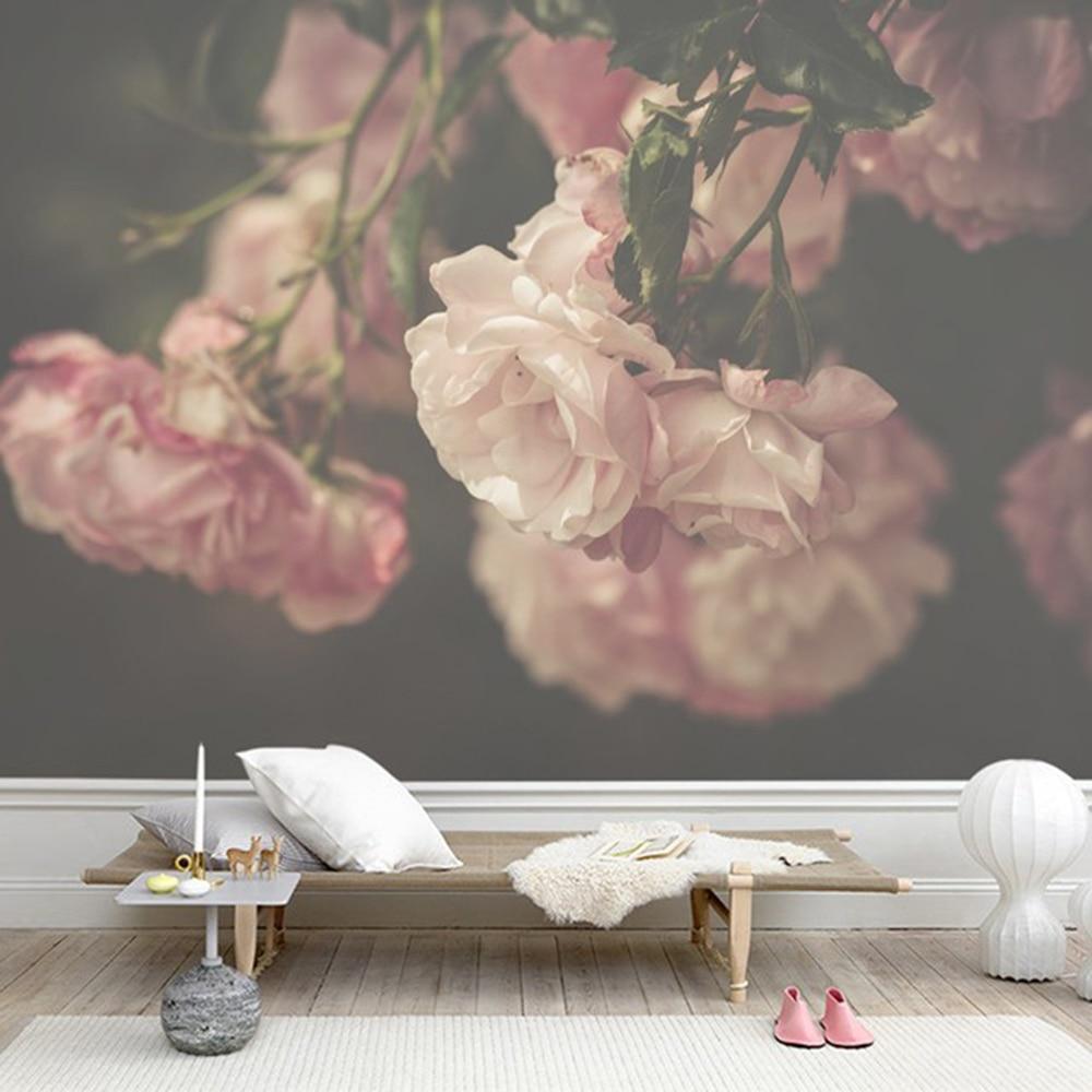 Pink Rose Flower Green Leaf Livingroom Background 3D
