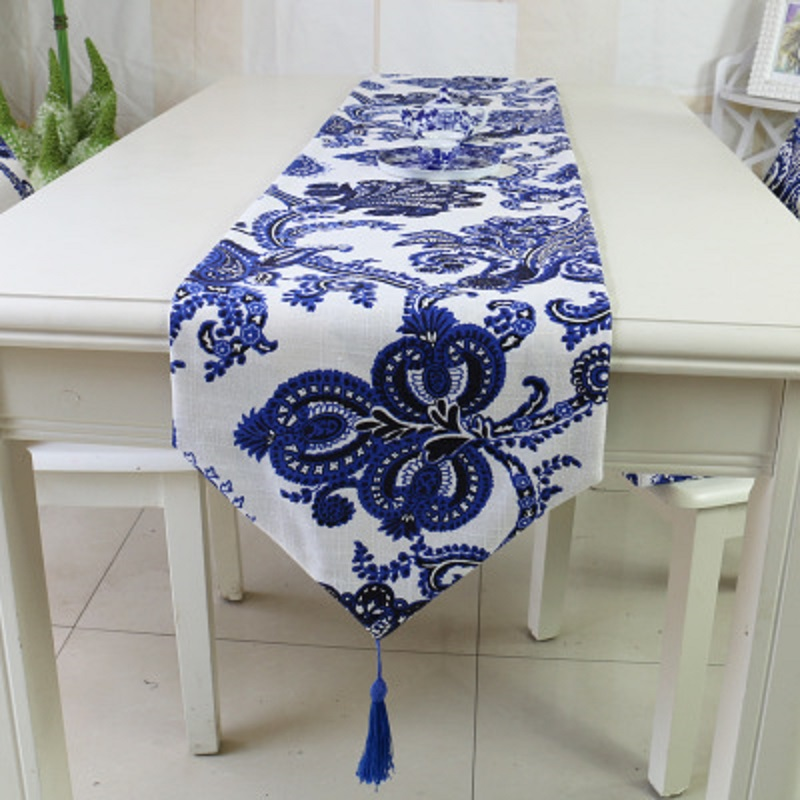 Classical linen table runner thickening phoenix blue and white fabric modern home decorations