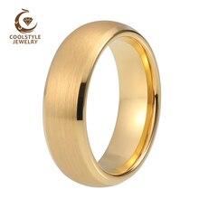 Женская Свадебная лента Вольфрамовая Золотая кольцевая лента 6 мм с скошенной матовой отделкой комфортная посадка