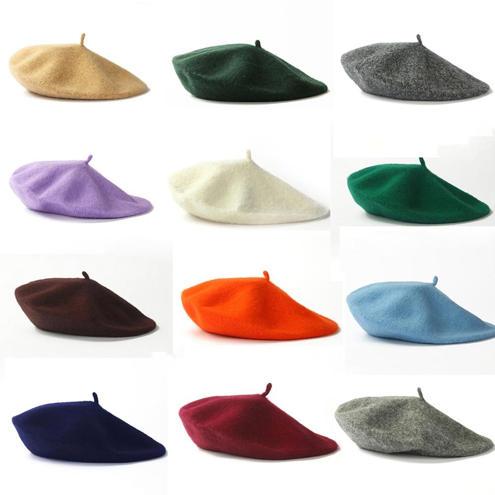 Female Girls Artist Beret Woman Vintage Spring Winter Berets Warm Plain Beret Takes A  Flat Cap Wool Beanie Hat Cap Head Wear