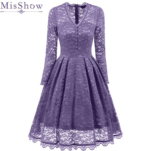 Us 2699 37 Offaliexpresscom Buy Wine Red Violet Womens Sexy Lace Cocktail Dress V Neck Long Sleeve Knee Length Party Dress Short Summer Lace