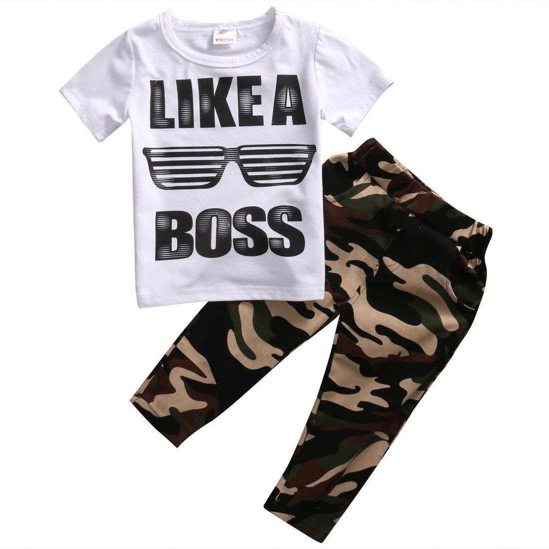 2pcs// Set Newborn Toddler Kids Baby Boys Clothes T-shirt Tops+Camo Pants Outfits