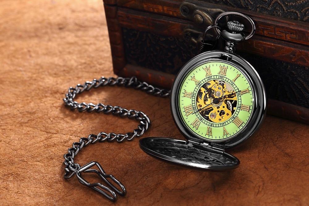 Steampunk Mechanical Pocket Watch Men Retro Pendant Watch Chain Vintage Necklace Mechanical Hand Wind Clock Pocket Watch Gifts 13