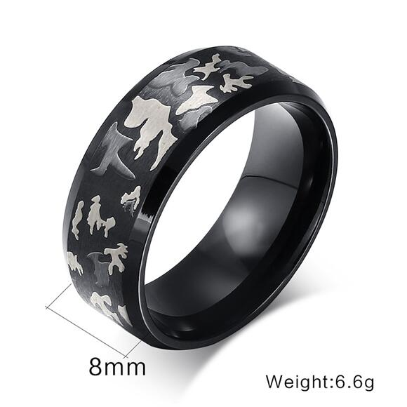 Mens 8mm High Polished Black Hunting Camo Camouflage Comfort Wedding Ring Birthday Gift For Boyfriend Girlfriend