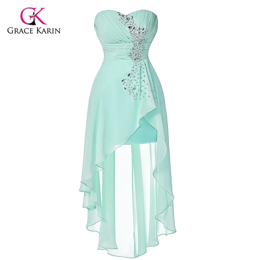 High Low Prom Dresses Grace Karin Elegant Cheap Pale Turquoise 2017 Short Front Long Back Chiffon Evening Dress For Graduation
