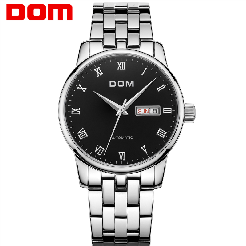 DOM Automatic Mechanical Skeleton Watch Sport Dial Stainless Steel Band Top Brand Luxury Montre Homme Clock Men Hot Sale M-57 2017 hot sale luxury luminous automatic mechanical skeleton dial stainless steel band wrist watch men women christmas gift