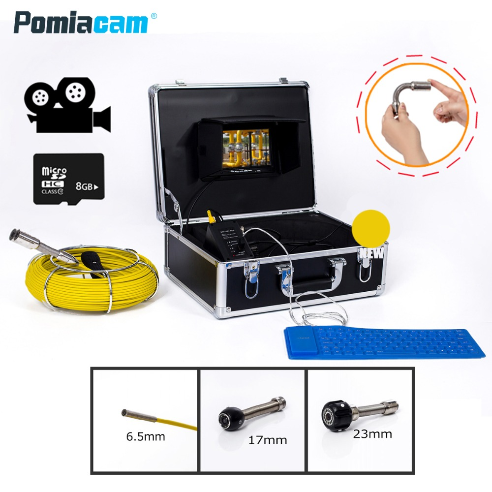 WP71 50M Cable Sewer Drain Pipe Inspection Camera System 7''LCD Video Snake Pipeline Endoscope Borescope Underwater camera dhl free wp90 50m industrial pipeline endoscope 6 5 17 23mm snake video camera 9 lcd sewer drain pipe inspection camera system
