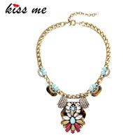 KISS ME Antique Gold Color Chain Alloy Vintage Necklace Colorful Geometric Crystal Pendant Necklace Collier Femme