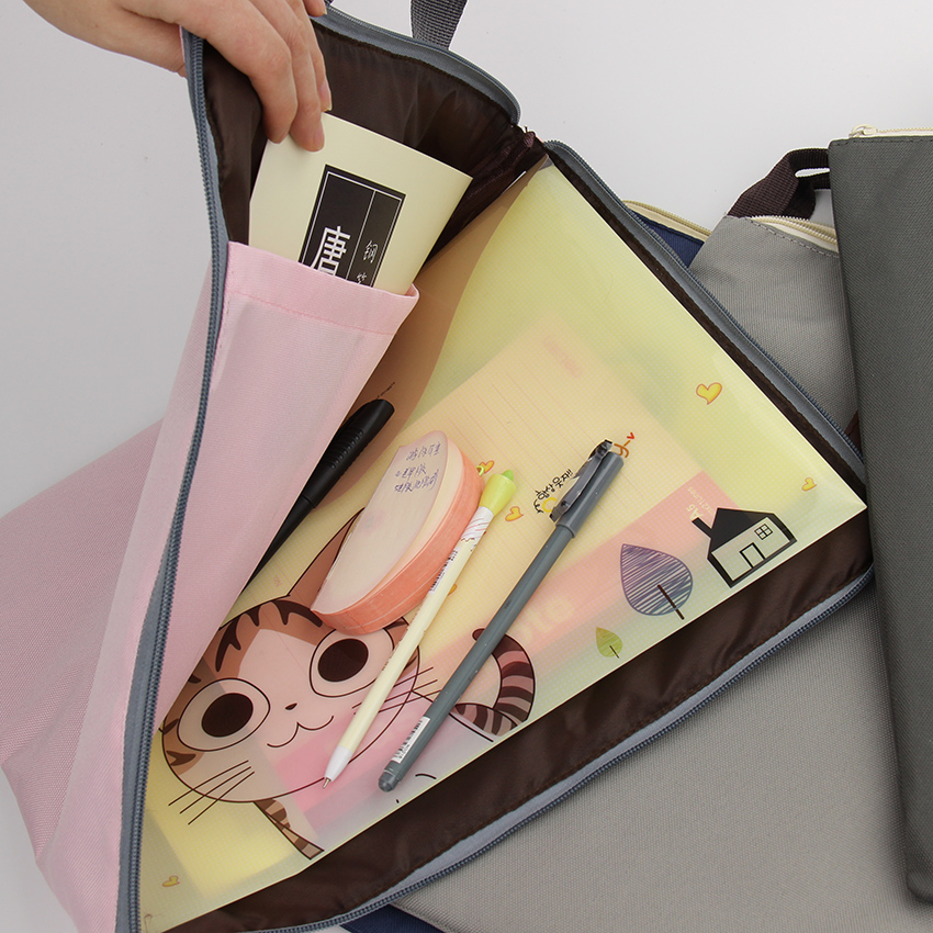 1 PC Korean Simple Solid A4 Big Capacity Document Bag Business Briefcase Storage File Folder for Papers Stationery Student Gift