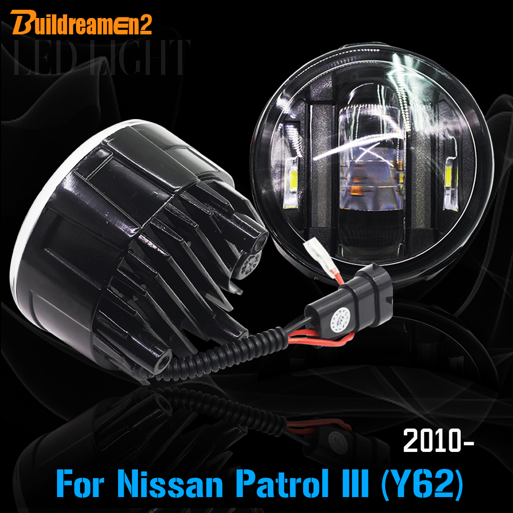 Buildreamen2 2 X Car LED Fog Light DRL Daytime Running Light For Nissan Patrol III (Y62) 5.6 Closed Off-Road Vehicle 2010 Up 2pcs for car styling fog lights nissan x trail t31 closed off road vehicle 2007 2014 halogen lamps 26150 8990b