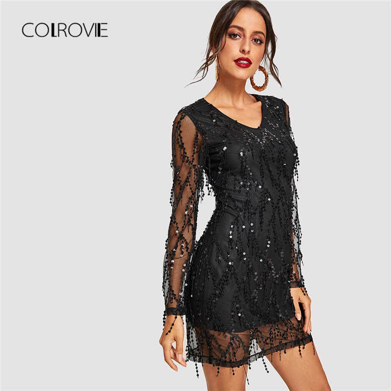 336bdfb6f48b COLROVIE Black Sheer Mesh Fringe Overlay Sequin Party Dress Women Spring V  Neck Tassel Bodycon Sexy