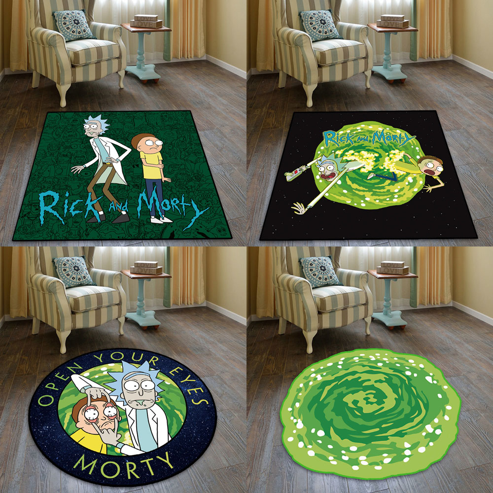 Customized Chair Cushions With Slip-resistant Decorative Square Round Carpet For Rick And Morty Bedroom Bedside Study.