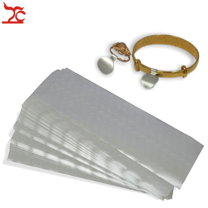 New  400Pcs Silver  Paper Dumbbell Self-Sticky Label Jewelry Ring  Price Label Display Tags