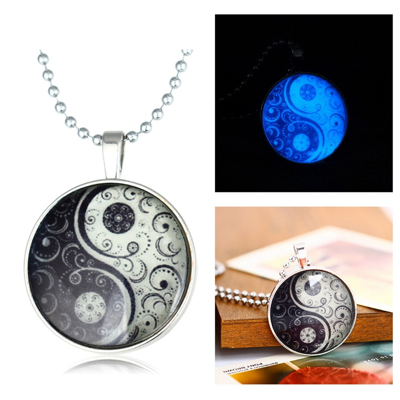 Glow Glass Necklace Jewelry Glowing Necklaces For Women Men New Glow In The Dark Necklace Yin Yang witchcraft Pendants