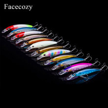 Facecozy 1Pc Luminous Bionic Bait Fishing Lures with Two Eagle Claw Hooks Artificial 8-11CM CrankBait  High Rate Minnow