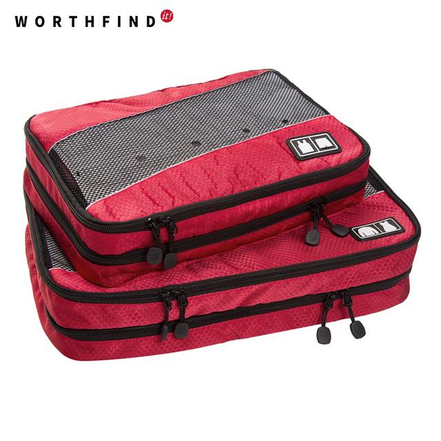 Worthfind 2 pçs/set nylon cubos de embalagem para roupas leves organizadores saco de duffle sacos de viagem bagagem para camisas à prova d' água