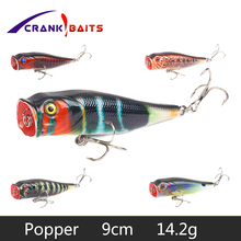 цена CRANK BAITS Popper Fishing Lure Floating Wobblers 9cm 14.2g 3D Eyes Hard Bait Crankbaits pesca Leurre Fishing Tackle YB65 онлайн в 2017 году