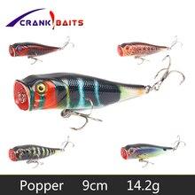 CRANK BAITS Popper Fishing Lure Floating Wobblers 9cm 14.2g 3D Eyes Hard Bait Crankbaits pesca Leurre Tackle YB65