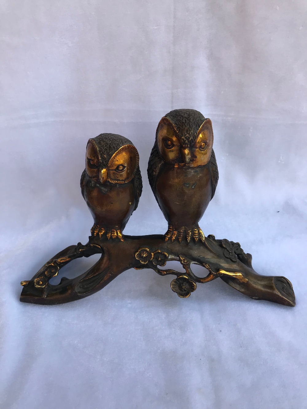 Chinese Folk Classical Copper Bronze Gilt Feng Shui Two Owls Home DecorationsChinese Folk Classical Copper Bronze Gilt Feng Shui Two Owls Home Decorations