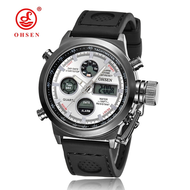 New OHSEN Men Watch Dual Time Zone Alarm LCD Sport Watch Mens Quartz Wristwatch Silicone Waterproof  Sports Digital Watches