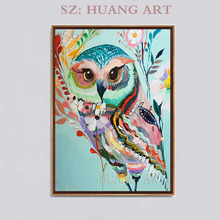 High Skills Artist Handmade Quality Owl Oil Painting on Canvas Colorful Colors Animal Art for Wall