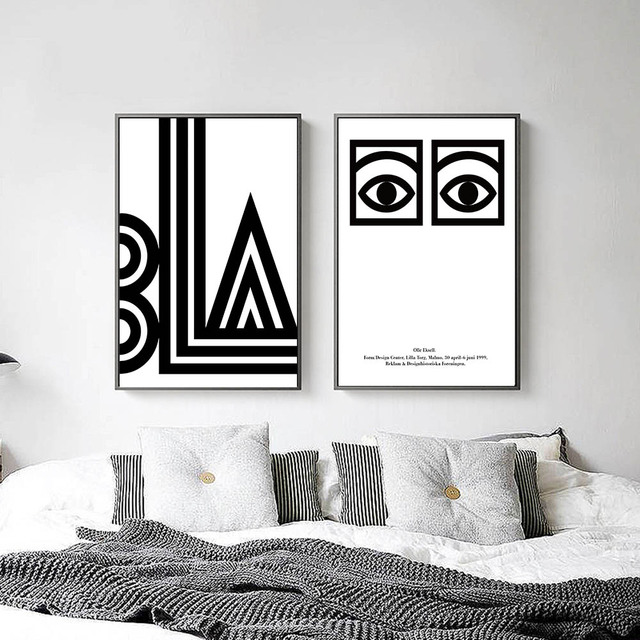 Black white eye letters abstract canvas posters minimalist for Black and white mural prints