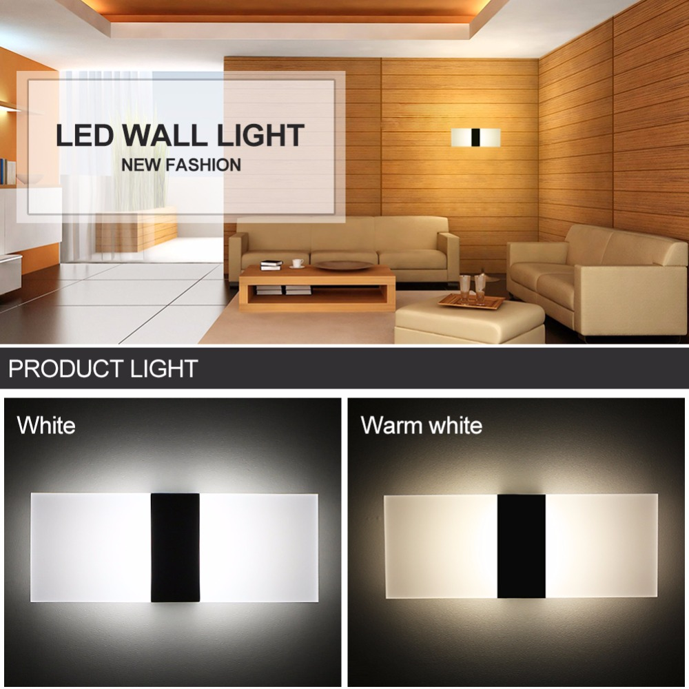 Foxanon led acrylic wall lamp 85 265v sconce wall lights bedroom living room stair corridor