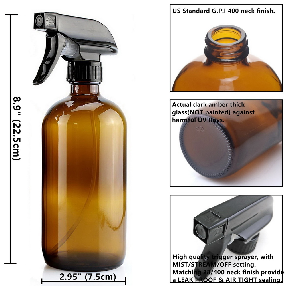 Image 2 - 4 Pack 500ml Amber Glass Spray Bottle with Trigger Sprayer for Essential Oils Cleaning Aromatherapy 16 Oz Empty Refillable Brownbottle containerglass spraytrigger spray -