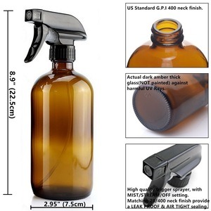 Image 2 - 4 Pack 500ml Amber Glass Spray Bottle with Trigger Sprayer for Essential Oils Cleaning Aromatherapy 16 Oz Empty Refillable Brown