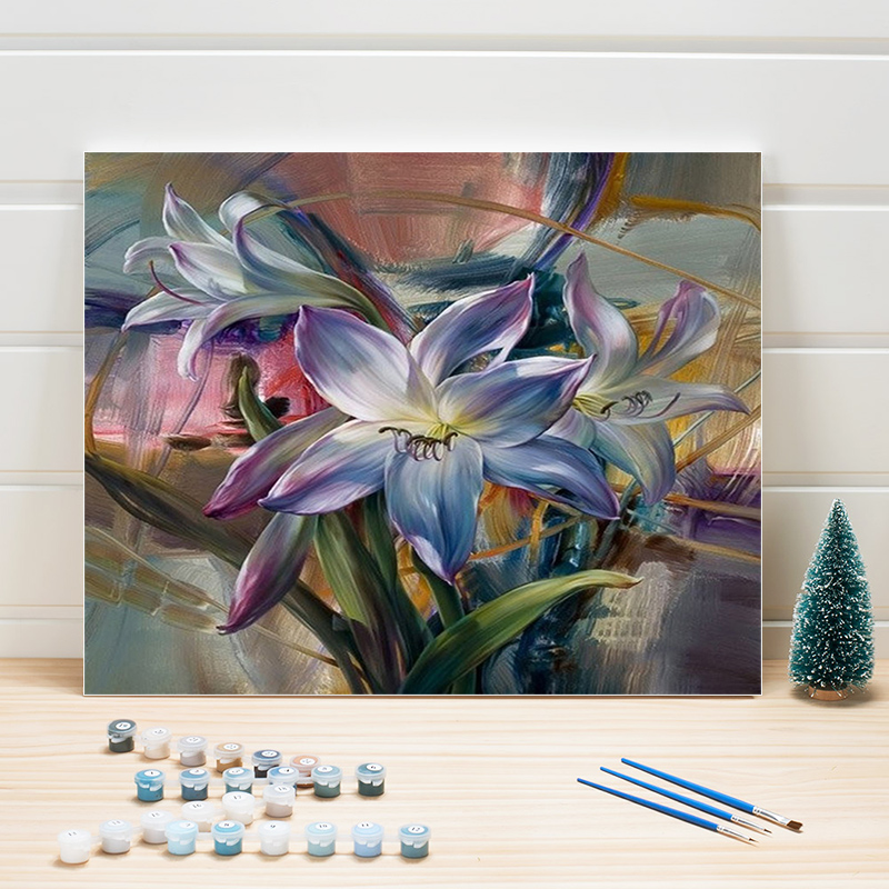 Painting By Numbers Package Flowers Acrylic Paint Drawing On Canvas Art Wall Pictures For Living Room Wedding Decoration One Set