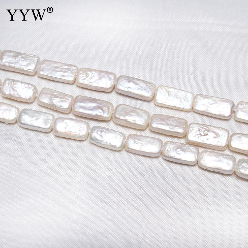 Cultured Baroque Freshwater Pearl Beads Rectangle natural white 17-18mm Sold Per Approx 15.3 Inch Strand
