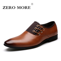 Zero More Big Size 6.5 12 New Fashion Men Wedding Dress Shoes Black Shoes Round Toe Flat Business British Lace Up Men's Shoes