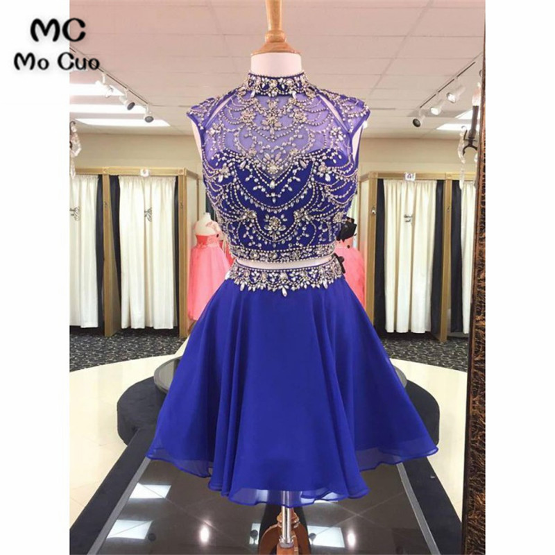 2018 Royer Blue Beaded Homecoming Dresses with Crystals Two Pieces Gown A-Line Gown Homecoming Cocktail Graduation Party Dresses