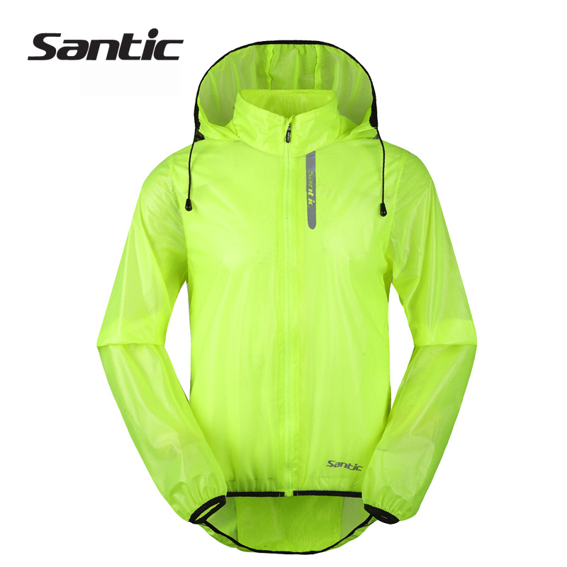 Santic Men's windbreakers women Cycling Jacket Breathable Waterproof Men clothes MTB Bicycle Long Sleeve Windproof Hooded coat