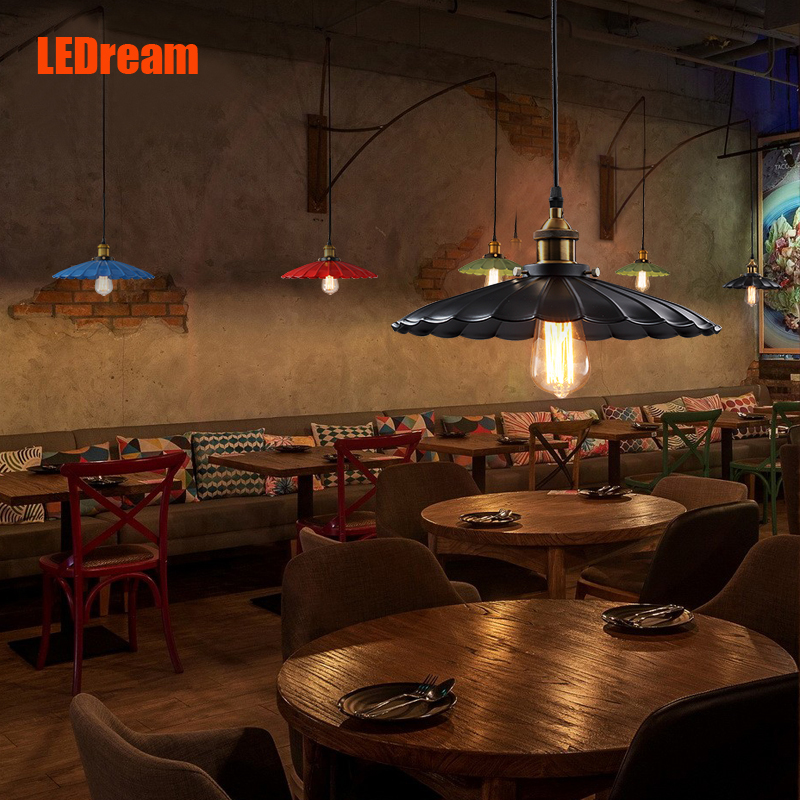 LEDream American Loft Retro Cafe Bar Counter Restaurant LED Lamps And Lanterns Creative Little Black Umbrella