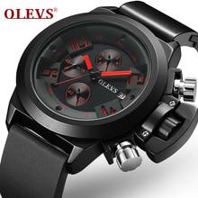 OLEVS Men New Tourbillon Quartz Watch Luxury Fashion & Casual Brand Leather Man Week Gold Self-Wind Watches 6848