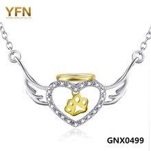 GNX0499 Подлинная Стерлингового Серебра 925 Ожерелье Женщины Ювелирные Изделия CZ Кристалл Ангельские Крылья Сердце Собака Paw Подвески Ожерелье 18 дюймов