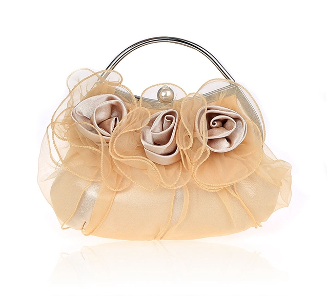 4fbe525d96 Apricot Chinese Women's Satin Handbag Clutch Party Bridal Evening Bag Hand  Purse Makeup Bag Free Shipping 03850-A
