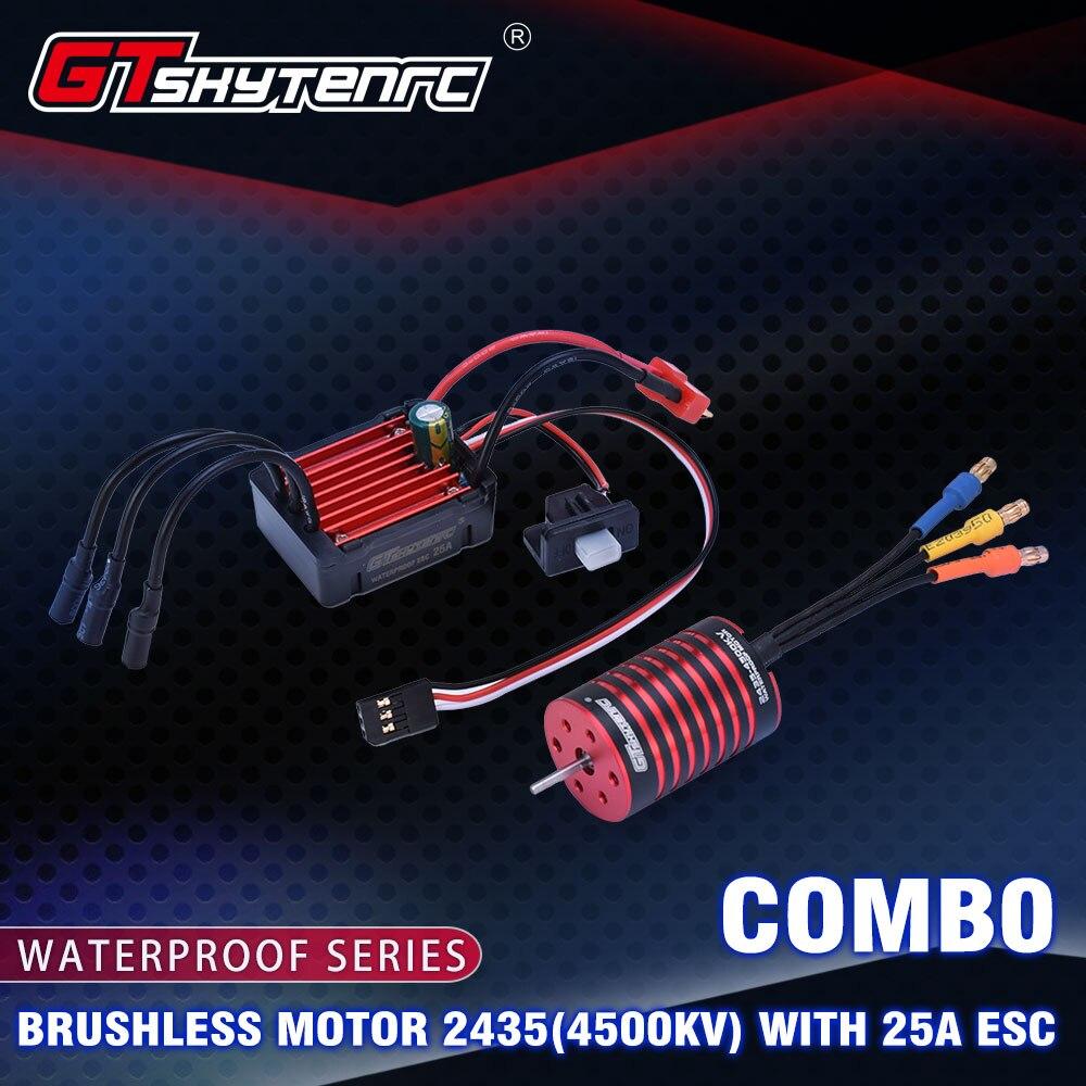 2019 New GTSKYTENRC Combo 2435 4500KV 4800KV Brushless Motor W/ 25A Brushless ESC For 1:16 1:18 RC Buggy Drift Racing Car